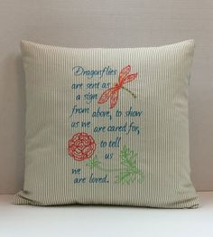 Embroidered Dragonfly Pillow 16x16  Sympathy by CustomMadeByPam