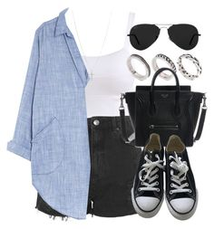 """""""Style #10955"""" by vany-alvarado ❤ liked on Polyvore featuring Topshop, ASOS, CP Shades, Converse, Ray-Ban and FOSSIL"""