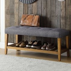 Add a timeless look to your home with this durable Acme Furniture Charla Gray and Oak Storage Bench. Oak Storage Bench, Oak Bench, Shoe Storage Cabinet, Upholstered Storage Bench, Entryway Bench, Storage Rack, Smart Storage, Entryway Decor, Bauhaus