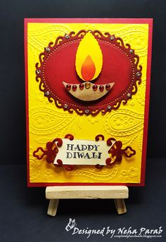 Hello Everyone! Another day of Diwali cards! If you just dropped by, check out my Day 1 and Day 2 cards. Shall we get started for toda. Diwali Cards, Diwali Wishes, Happy Diwali, Diy Cards, Handmade Cards, Handmade Gifts, Invitation Cards, Invitations, Festive Crafts