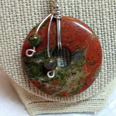 Unakite Flat Donut Wire Wrapped Unisex Silver Plated 18 inch Necklace