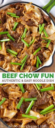 Beef Chow Fun is a popular Chinese (Cantonese) noodle dish with extra wide rice noodles, sweetened sesame soy sauce and green onions with thinly sliced beef. dinner recipes Authentic and EASY Beef Chow Fun - Dinner, then Dessert Chinese Noodle Recipes, Rice Noodle Recipes, Noodle Dish, Chinese Chow Fun Recipe, Chinese Food Dishes, Chicken Chow Fun Recipe, Chinese Rice Noodles, Popular Chinese Dishes, Chow Fun Noodles