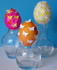 oder hübsch dekorierte Eier mit gestanzten Schmetterlingen!