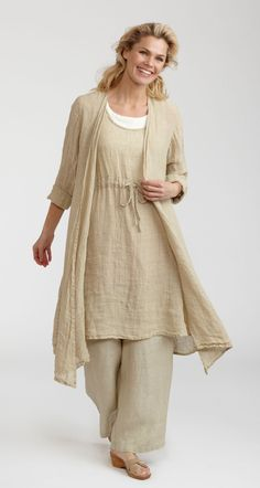 Mmm. Flax clothing. Just had to have the duster in bleached linen gauze.