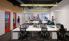 Studio O+A designed a variety of spaces on the first floor of AOL's office building in Palo Alto, California.