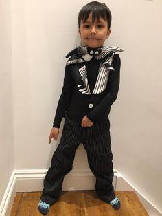 Jack Skellington costume bambini, gilet steampunk papillon, panciotto futurista nero con cravattino a pipistrello elegante abito matrimonio