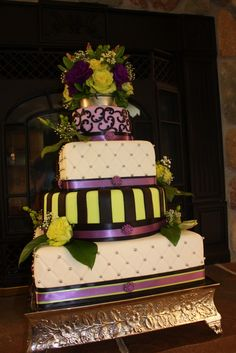 Square/Round Wedding Cake -Purple, Green, White, Black with Silver Accent