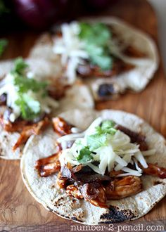 BBQ Chicken Tacos with Caramelized Red Onion