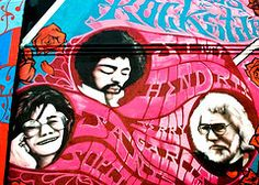 Psychedelic Haight Street Mural; Joplin, Hendrix, Garcia The late sixties was surely a peak in the short history of Vintage Rock. Perhaps there was no better location to spring forth the exuberant sounds that flowed out of the city by the bay. Bands like Tikis, Mojo Men, The Knight Riders and the Beau Brummels were beginning to create a different vibe throughout the music industry