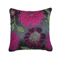 Charcoal Sequined Flowers Cushion