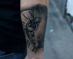 Clock and a Child Tattoo By Bacanu Bogdan #tattoo #cheltenham #cheltenhamtattoos #tattoos #realism #realistic #3D #black #grey #colour #shading #child #little #boy #clock #time #hot #for #guys #men #no #regrets #studio #noregretsstudio