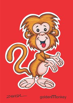Character design Monkey -  macaquinho de  cor dourada - ano de 2002 - técnica de caneta hidrocor.