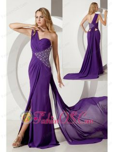 Purple Column One Shoulder Beading Prom Dress Watteau Train Chiffon  http://www.fashionos.com  This purple design will give us a feeling of sexy and elegance. The one shoulder style bodice is accented with symmetrical ruchings and sophiscated beadwork in the leftside that can embody your elegance. While the floor length skirt with a sexy slit will show the beauty of your leg.