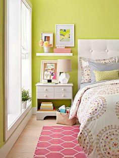 #bedroom color ideas #green walls pink colored carpet