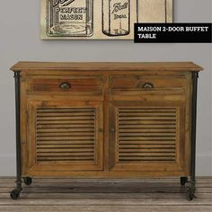 The Maison Buffet Table is a reimagining of classic sideboard table designs with an added rustic flair. The reclaimed pine frame has a vintage appearance with unique textures and wood grain patterns that differ from piece to piece. Sideboard Table, Buffet Cabinet, Furniture Care, Wood Furniture, Pine Doors, Entry Hallway, Table Designs, Drawer Handles, Heating Systems