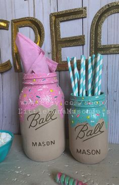 Ice cream themed mason jars, set of 3 quart size ice cream party centerpiece, birthday decorations, two sweet theme - Samantha Gallegos - Beyond Binary 1st Birthday Decorations, 4th Birthday Parties, 1st Birthdays, Girl Birthday Party Themes, 2nd Birthday, Birthday Ideas, Birthday Party Centerpieces, Ice Cream Party, Girls Party