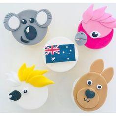 [AUSTRALIA DAY KIDS CUPCAKE CLASSES] Avoid School Holiday Boredom! School Cupcakes, Kid Cupcakes, Animal Cupcakes, Themed Cupcakes, Australian Cookies, Australian Party, Australia Cake, Australia Animals, Cake Decorating Supplies