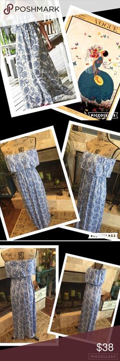 "Boho maxi dress Polyester blend, base doesn't have stretch. free/flowing effect would suggest sm/med. about 47"" length. Gathered elastic under bust and ruffled area. not padded or built in bra. The blue is more towards navy, a little deeper/richer than pics!  My Brand Boutique. gypsi's Dresses Maxi"