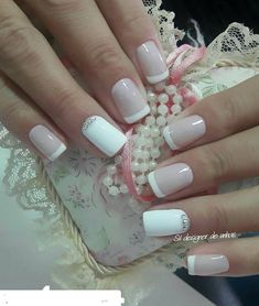 american french nails Of July French Nails, Pink Nails, Glitter Nails, Nail Manicure, Gel Nails, Nail Deco, Gel Nagel Design, Nagel Hacks, Bride Nails