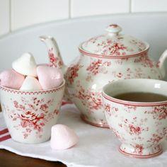 Enjoy a spot of afternoon tea in the very pretty Abelone raspberry range