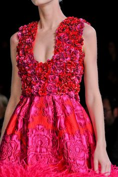 I love the pink and red texture of this dress, but it needs more material in the front to be practical!!!