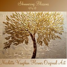 """Original, Large  gold/silver gallery canvas abstract contemporary 36"""" palette knife  floral oil painting by Nicolette Vaughan Horner. $225.00, via Etsy."""