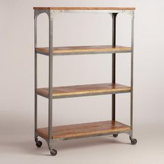 One of my favorite discoveries at WorldMarket.com: Wood and Metal Aiden Bookcase