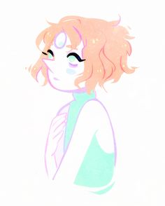 quick sketch of a flustered pearl with messy/curly hair!!! *___*