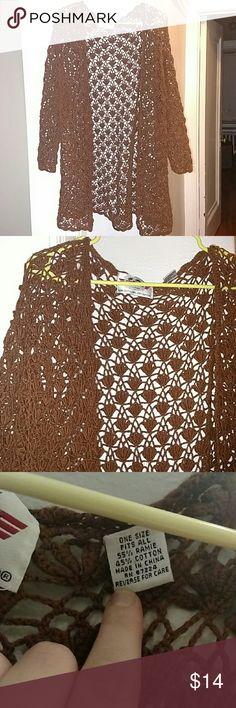 Crochet sweater Earth brown long cotton crochet cardigan. Flawless, brand new. Soooooooo beautiful. One size fits all. I would say it's a m/L. international sportswear co. Sweaters Cardigans