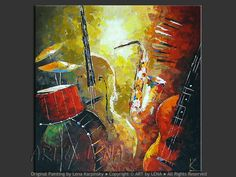 Jazz and Blues - Original Music Art by Lena Karpinsky… Music Painting, Guitar Painting, Art Music, Detailed Paintings, Jazz Art, Blue Art, Contemporary Paintings, Painting Inspiration, Art Pictures