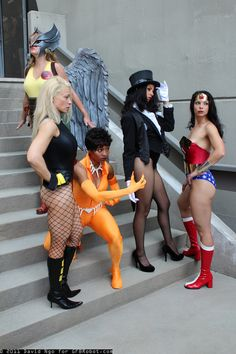 The women of the JLA    It's nice to see someone cosplay Vixen.