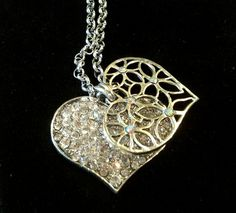 'Dazzling Silver Plated 2 Piece Heart Necklace ' is going up for auction at  5pm Wed, Aug 21 with a starting bid of $12.