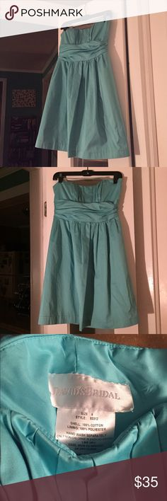 David's Bridal bridesmaid dress size 6 Once-worn  sleeveless, turquoise bridesmaid dress, size 6, style 83312. In excellent shape and waiting for another wedding to attend! 💍👠 David's Bridal Dresses Strapless