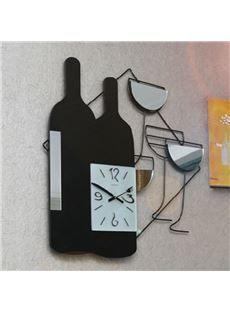 Charming Creative Red Wine Design Wall Clock