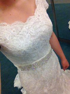 Lace wedding dress at David's bridal. This is a davids bridal dress try it.