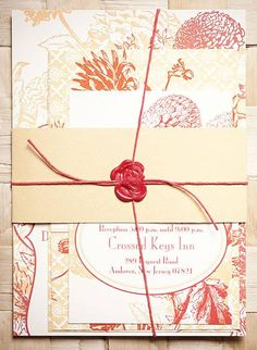Floral-Themed Wedding Invitation with Wax Seal