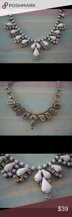 Vintage milk glass rhinestone high end silver tone vintage white milk glass & rhinestones choker necklace high end prong set It is in good shape with only slight wear.  It's a beautiful necklace! Vintage Jewelry Necklaces