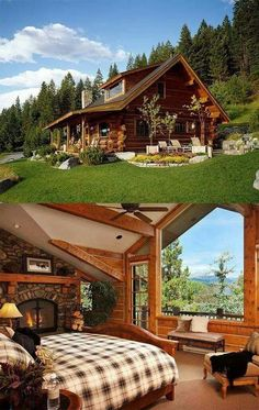 45 small log cabin homes ideas 21 Small Log Cabin, Log Cabin Homes, Log Cabins, Small Cabins, Mountain Cabins, Mountain Living, Cabins In The Woods, House In The Woods, Future House