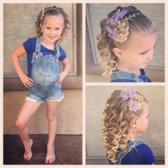 Today we did a French braid headband with a braided rosette at the end and curls…