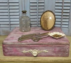 Vintage Wooden Box Shabby Chic Wooden Box by oZdOinGItagaiN, $30.00