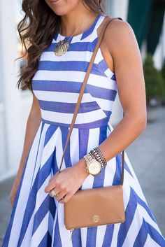 Kentucky Derby Stripe Midi Dress