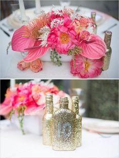 fuschia floral centerpieces