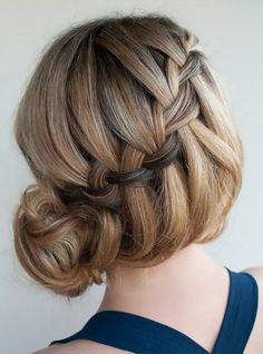 Coupe cheveux long : Waterfall Braid, Different Kind of Braids… Cool Braid Hairstyles, Braided Hairstyles Tutorials, Hair Updo, Pretty Hairstyles, Wedding Hairstyles, Braid Tutorials, Wedding Updo, Hairstyle Ideas, Amazing Hairstyles