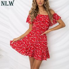 45b9bbdbe36 NLW Red Floral Print Mini Dress Ruffle Off Shoulder Summer Dress 2018 Women  Girl Beach Party