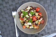 Een gezonde kidneybonen salade met frisse knapperige ingrediënten. De salade maak je met spelt bulgur, quinoa of volkoren couscous.