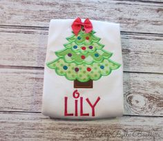 Cute Christmas Tree Appliqued Shirt - Embroidered Shirt, Personalized, Monogram, Holiday, Christmas, Girls, Toddler, Christmas Shirt on Etsy, $26.26 CAD