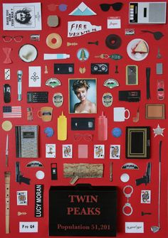 Twin Peaks Twin Peaks poster by Jordan Bolton. Made by recreating original objects from the TV series. poster in the 'Objects' series. Serie Twin Peaks, Twin Peaks Poster, Twin Peaks Tv Show, Miss Moss, Film Serie, Minimalist Poster, Twins, Jordans, Tv Shows