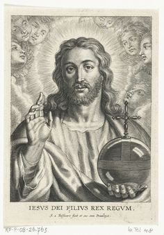 Schelte Adamsz. Bolswert | Christus als Salvator Mundi met cherubijnen, Schelte Adamsz. Bolswert, Peter Paul Rubens, 1596 - 1659 |