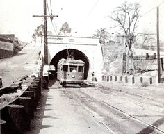 Fort Moore Hill Tunnel In this shot, circa 1946, a Los Angeles Railway A line streetcar is turning off Temple Street to enter the tunnel under Court Hill. The streetcar at right is running outbound on the Hollywood Boulevard streetcar line. It will cross Temple Street and then run through another tunnel