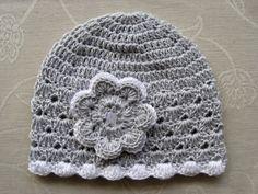Jarní/podzimní čepička - světle šedá/bílá Baby Hats, Winter Hats, Crochet Hats, Beanie, Knitting Hats, Beanies, Beret